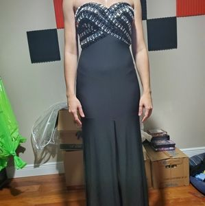 NWT black strapless special occasion dress